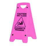 Sign Caution Wet Floor Cleaning Progress