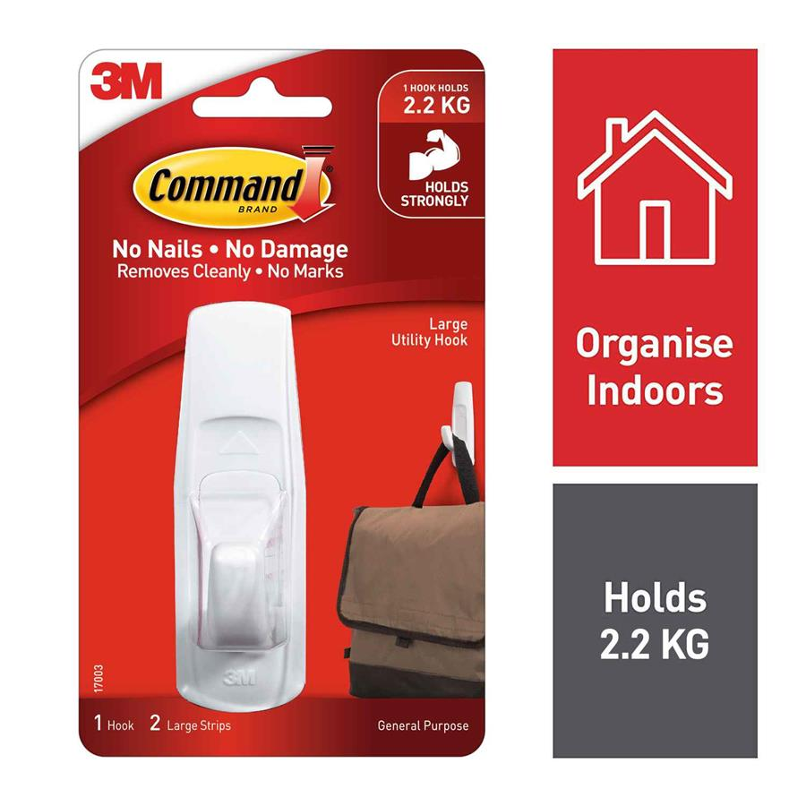 3m command hooks 17003 large adhe8010 cos complete. Black Bedroom Furniture Sets. Home Design Ideas
