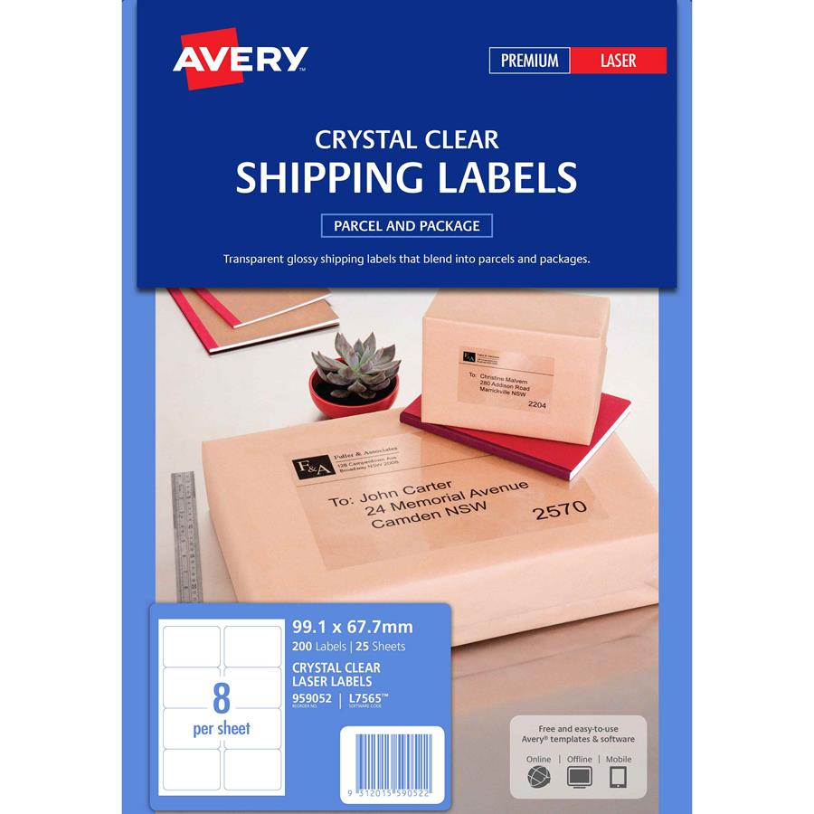 Avery crystal clear labels l7565 8up labl5640 cos for Avery 8 up labels