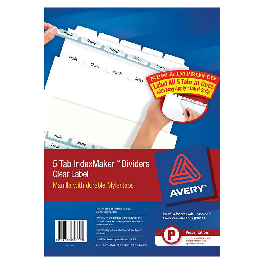Avery indexmaker dividers a4 5 tab cos complete office for Avery easy apply 5 tab template