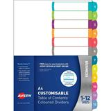 COS Avery Customisable Dividers A4 1-12
