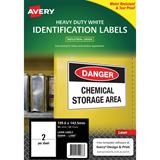 COS Avery Laser Labels L7068 2/ Sheet Hduty