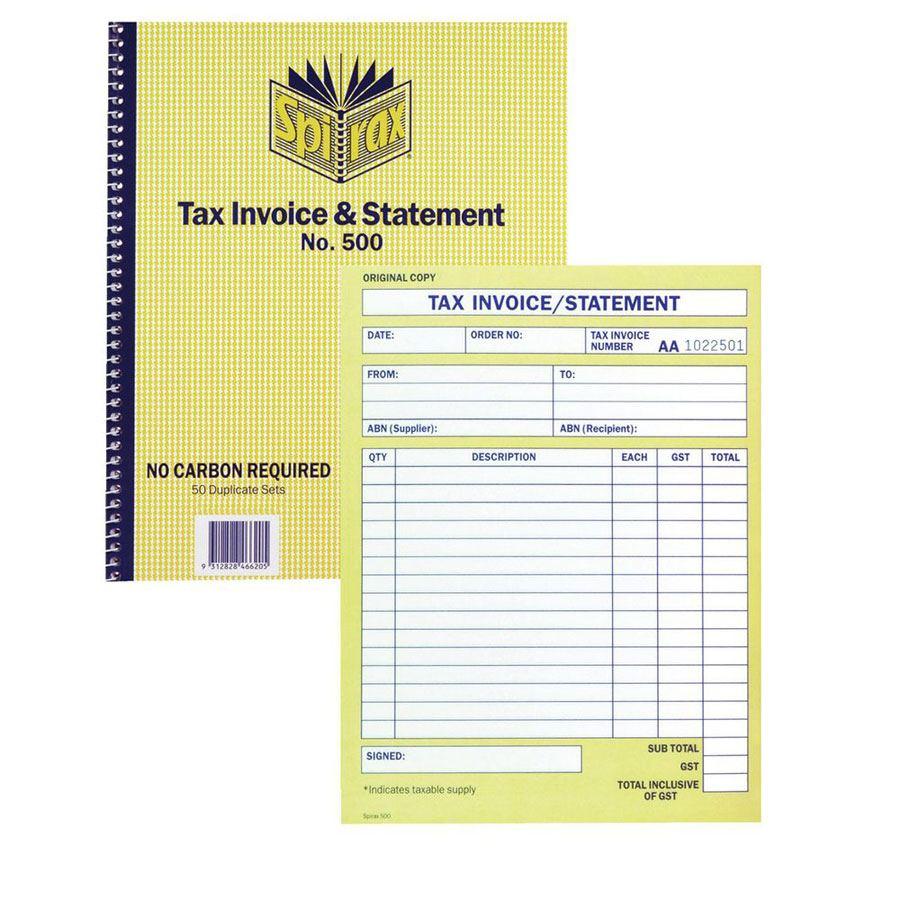 Spirax Tax Invoice Book NCR Quarto BOOK COS Complete - Invoice pads