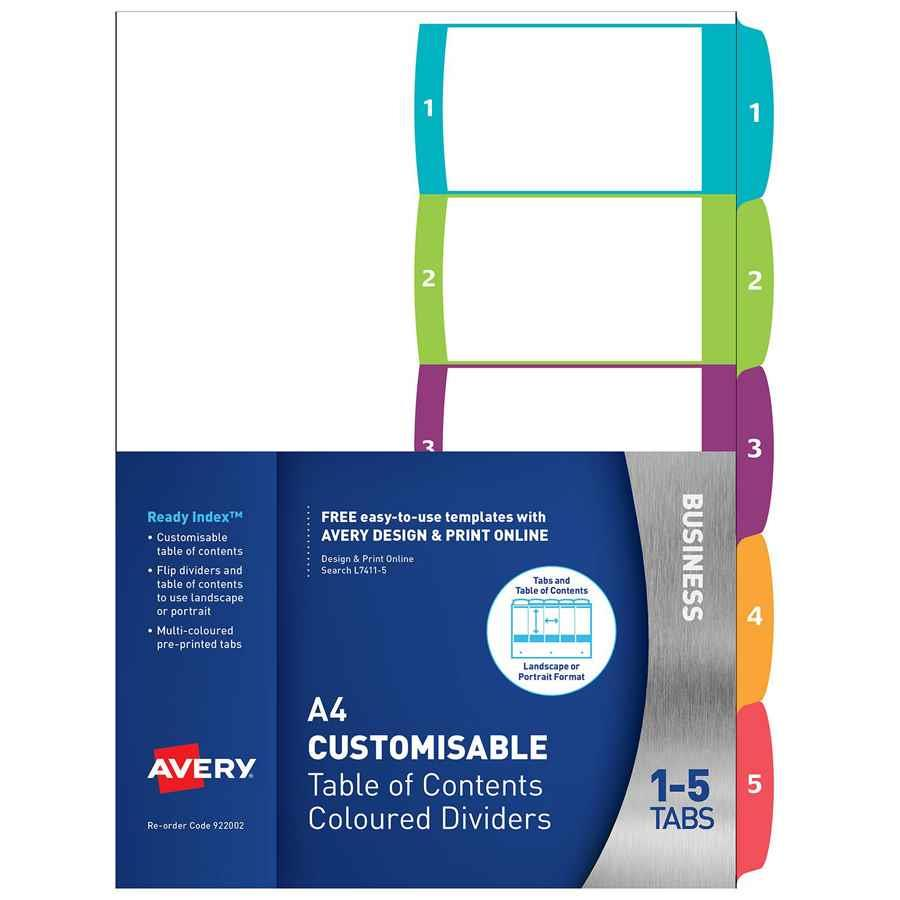 Avery readyindex dividers a4 1 5 indx3005 cos for Avery table of contents template 15 tab