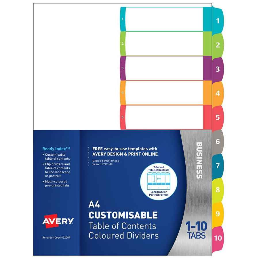 avery customisable dividers a4 1 10 indx3015 cos complete