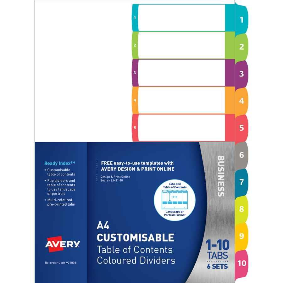 Avery Customisable Dividers A4 1 10 Tab Indx3016 Cos Complete