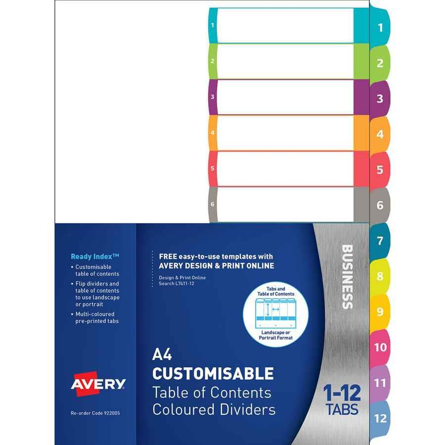 Avery Readyindex Dividers A4 1 12 Indx3020 Cos Complete Office