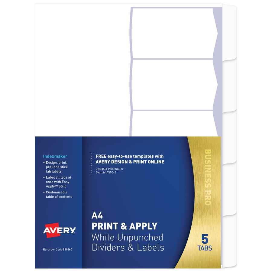 Avery Print Apply Dividers A4 5 Tab Up Indx3049 Cos Complete