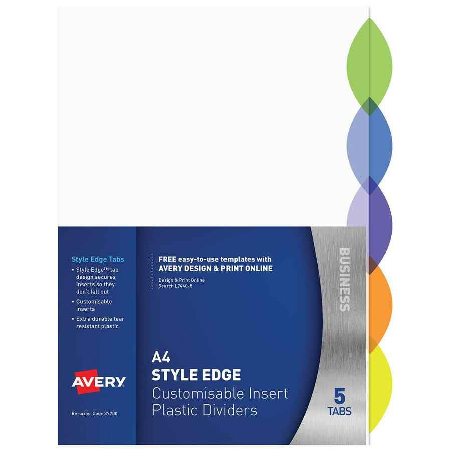 avery pp dividers a4 5 tab insert indx4312 cos complete office