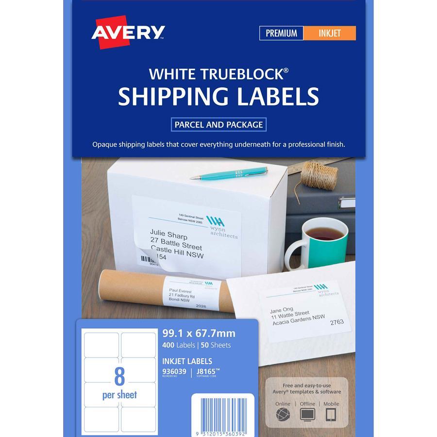 Avery Inkjet Labels J8165 8 Sheet Labl5308 Cos Complete