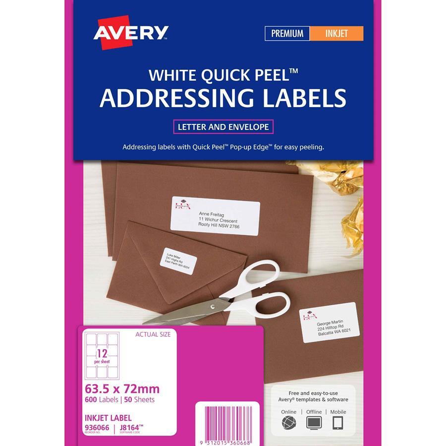 avery inkjet labels j8164 12 sheet labl5312 cos complete
