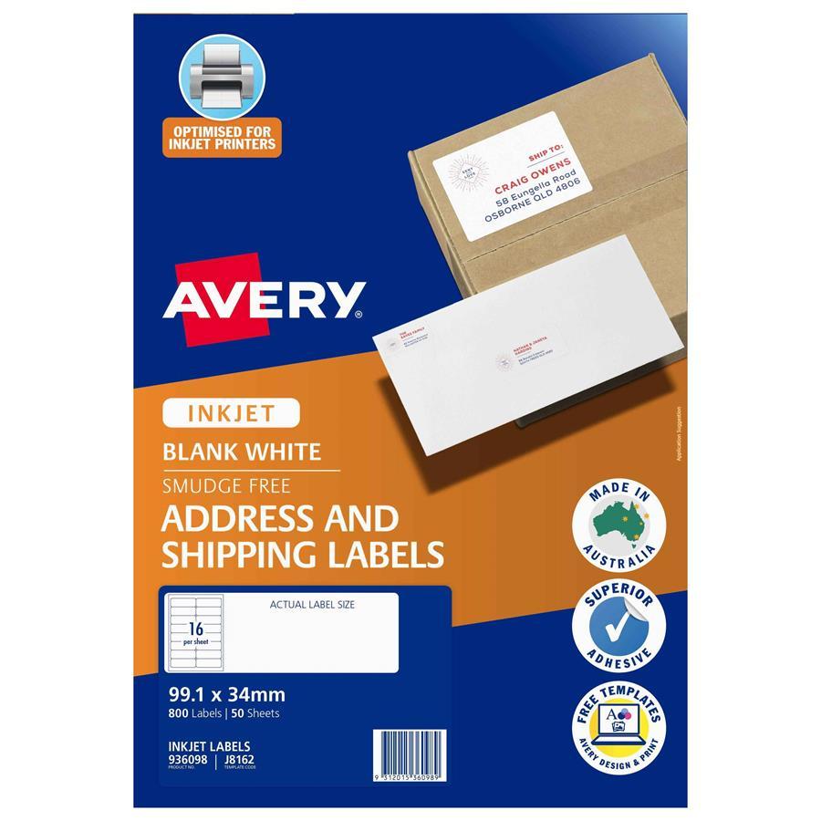 Avery Inkjet Labels J8162 16 Sheet Labl5316 Cos Complete