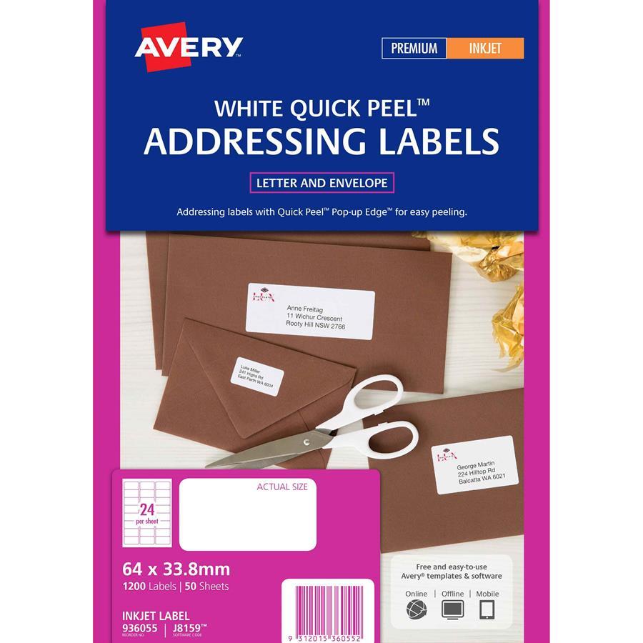 avery inkjet labels j8159 24 sheet labl5322 cos complete