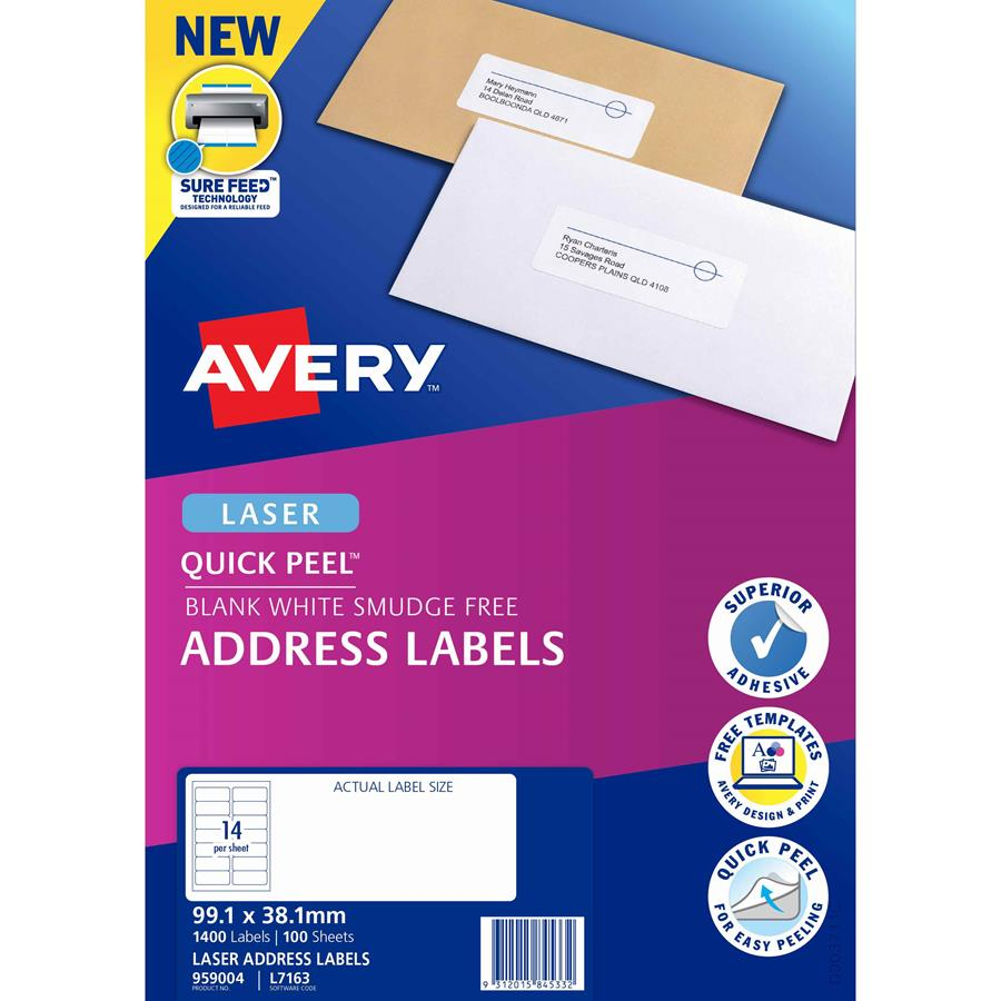 Avery Laser Labels L7163 14 Sheet Labl5614 Cos Complete