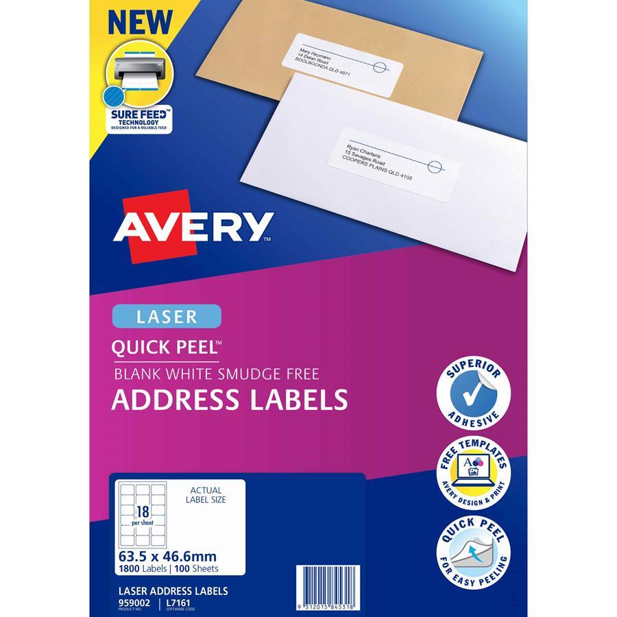 avery laser labels l7161 18 sheet