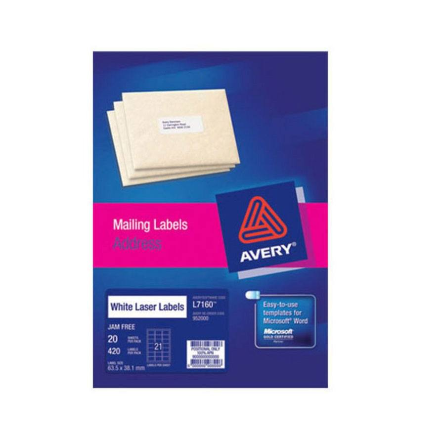 Avery Laser Labels L7160 21 Sheet Labl5620 Cos Complete