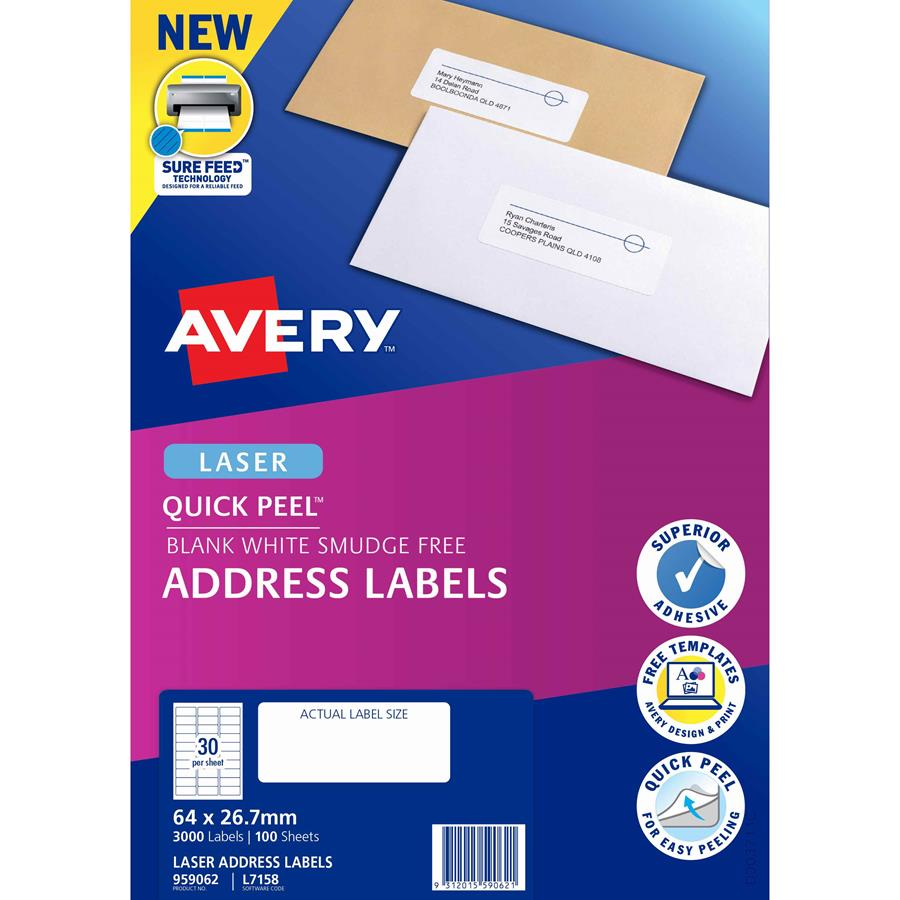 Avery Laser Labels L7158 30 Sheet Labl5630 Cos Complete