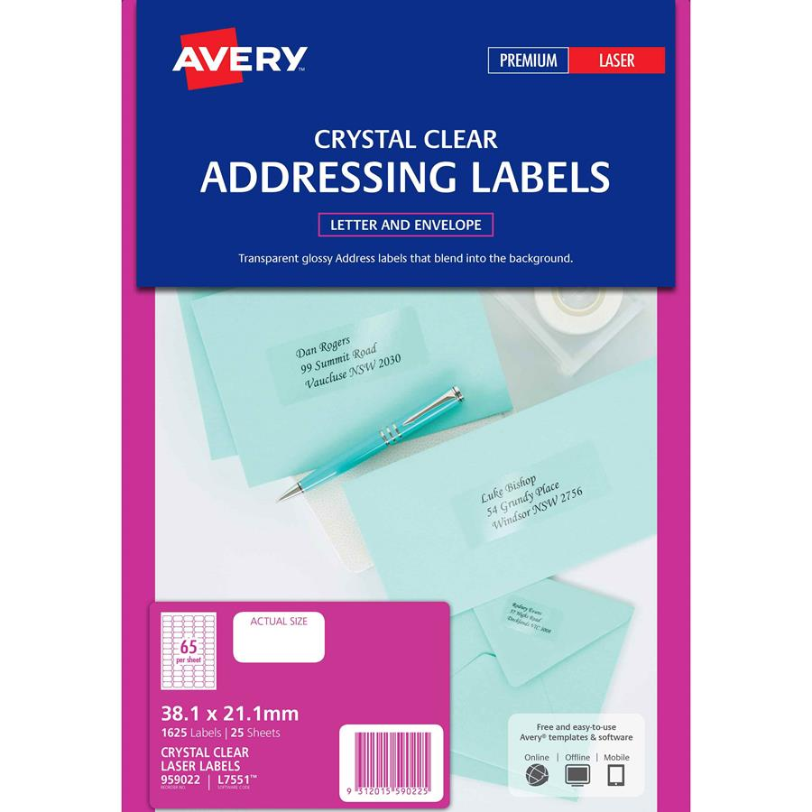 Avery crystal clear labels l7551 65up labl5646 cos complete avery crystal clear labels l7551 65up reheart Choice Image