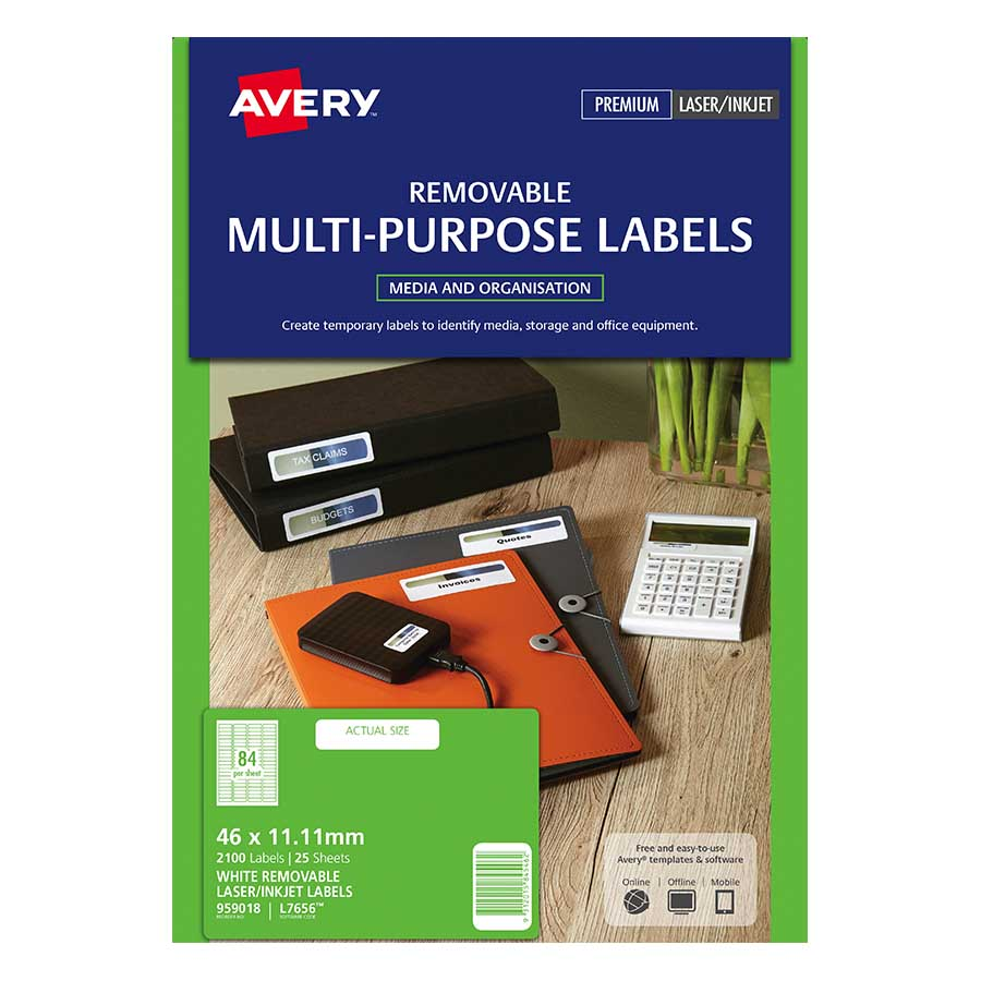 Avery Removable Labels L7656rev 25 84up Labl5675 Cos Complete