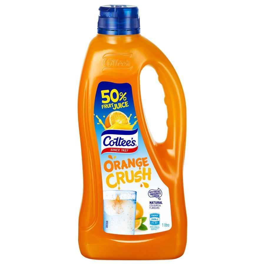 COS Cottees Cordial Orange Crush Plastic 1L