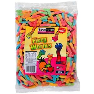 Food & Beverages Finetime Fizzy Worms 2kg Home & Garden