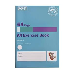 COS Exercise Book A4 Ruled 8mm 64 Pg