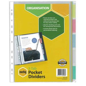 COS PP Dividers A4 5 Tab Pocket