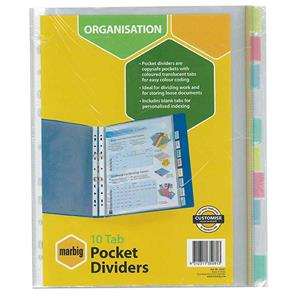 COS Marbig PP Pocket Dividers A4 10 Tab