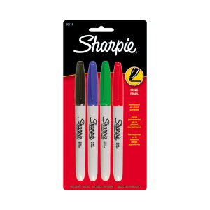 COS Sharpie Permanent Marker 1mm Fine Pk 4