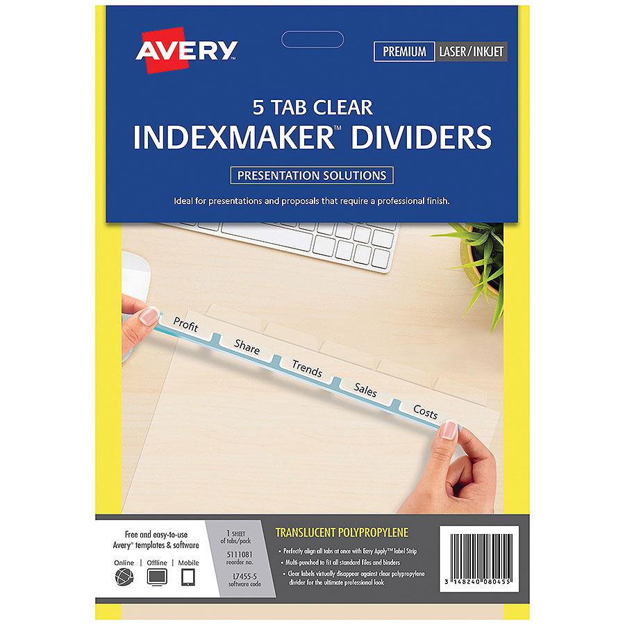 Avery indexmaker dividers a4 5 tab cos complete office for Avery index tabs template