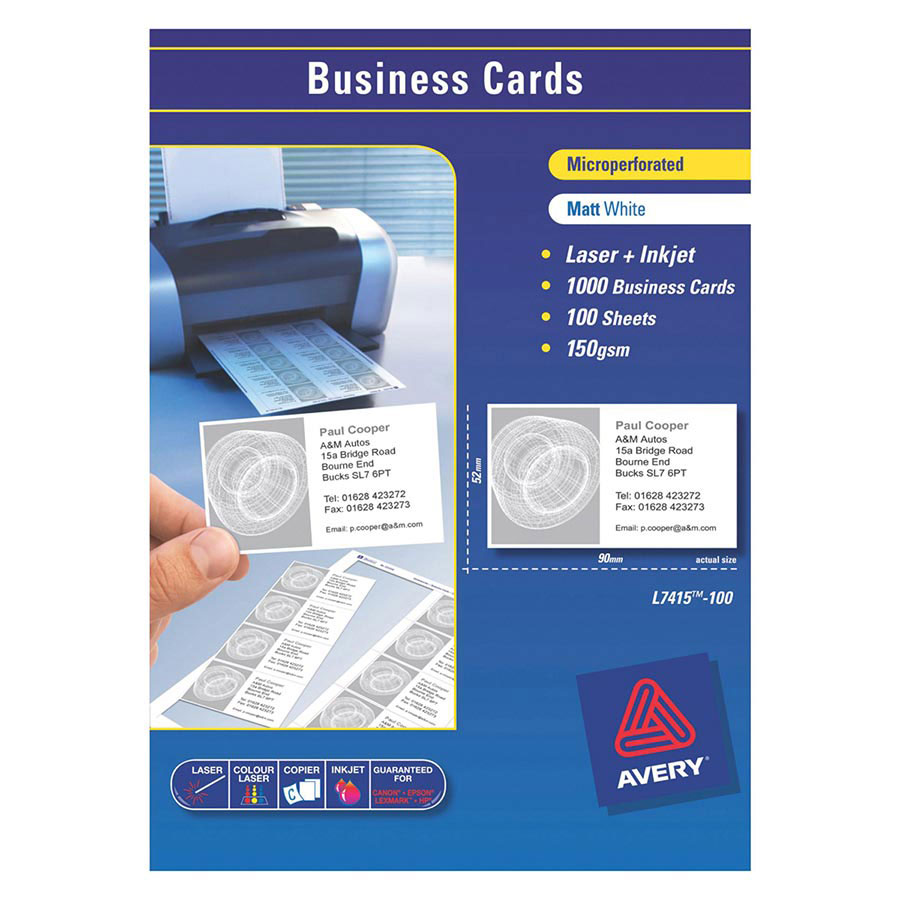 avery templated - avery laser business cards l7415 90x52mm cos complete